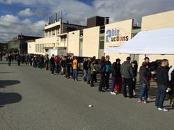 Line-up for the police recovered goods auction.