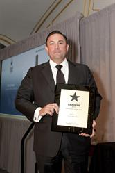 James Casey accepting the award on 19 Crimes' behalf
