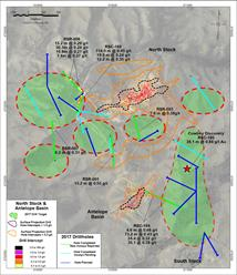 Plan map of North Stock and Antelope Basin 2017 drill results