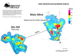 Geology map and mineralized zones of interest at Hog Heaven.